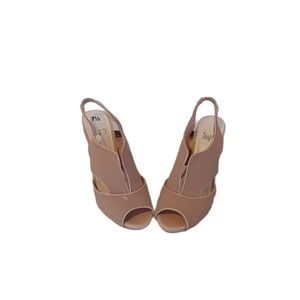 Impo light pinkish cream sling back heels
